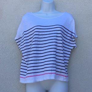 Christian Siriano XL linen striped top